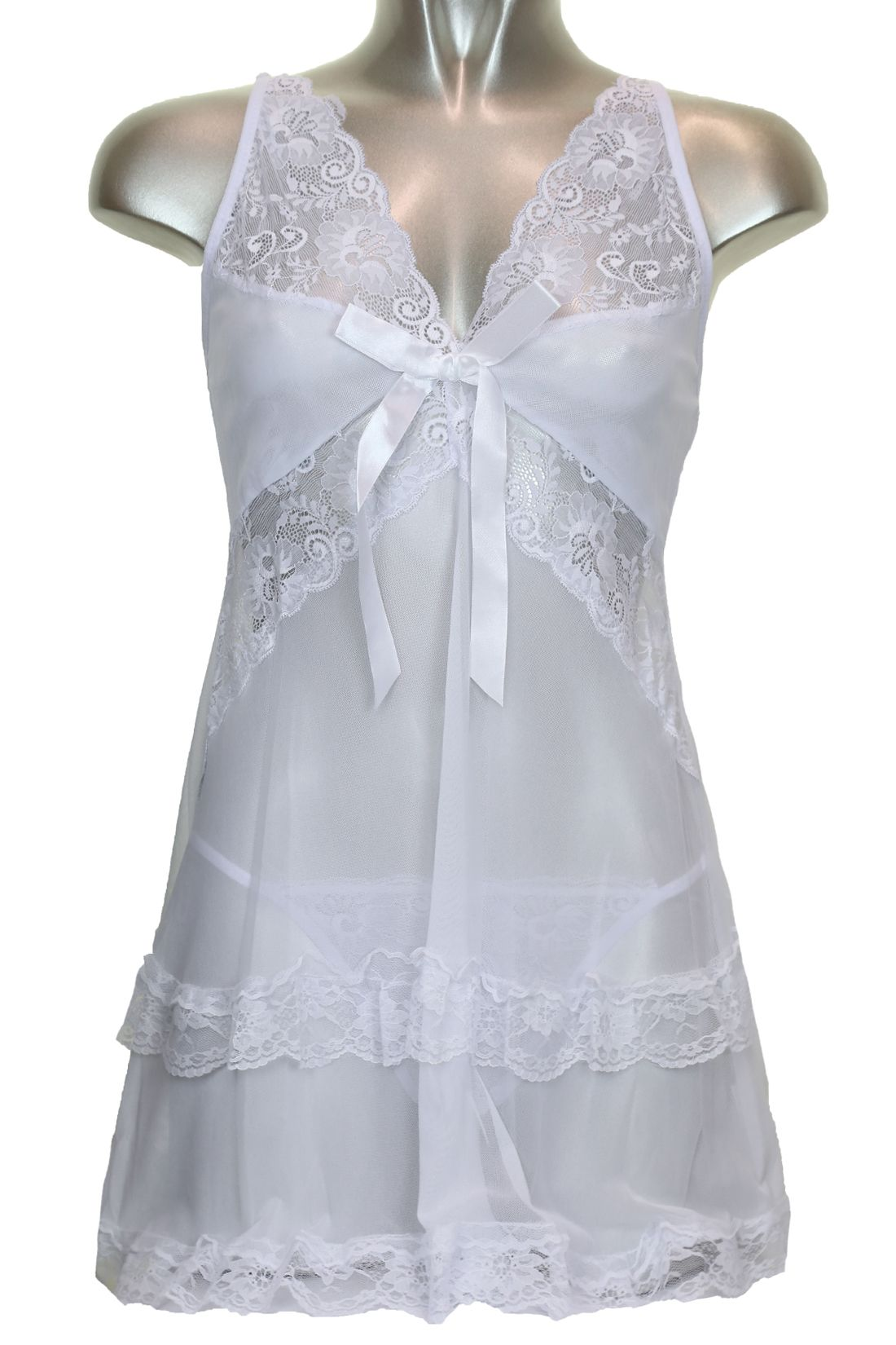 new york 100% genuine discount sale White Lace Babydoll Negligee Set